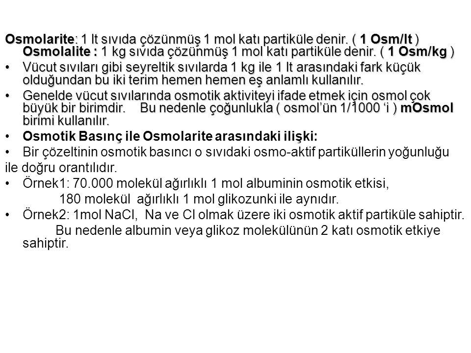 Osmolarite: 1 lt sıvıda çözünmüş 1 mol katı partiküle denir. ( 1 Osm/lt ) Osmolalite : 1 kg sıvıda çözünmüş 1 mol katı partiküle denir. ( 1 Osm/kg ) V