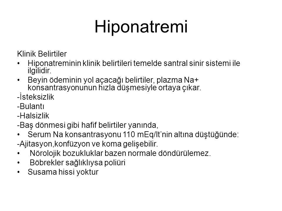 Hiponatremi Klinik Belirtiler Hiponatreminin klinik belirtileri temelde santral sinir sistemi ile ilgilidir. Beyin ödeminin yol açacağı belirtiler, pl
