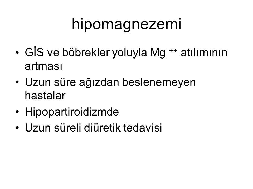 hipomagnezemi GİS ve böbrekler yoluyla Mg ++ atılımının artması Uzun süre ağızdan beslenemeyen hastalar Hipopartiroidizmde Uzun süreli diüretik tedavi