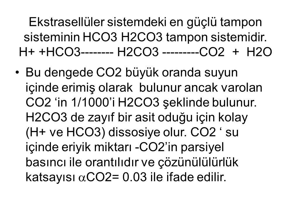 Ekstrasellüler sistemdeki en güçlü tampon sisteminin HCO3 H2CO3 tampon sistemidir. H+ +HCO3-------- H2CO3 ---------CO2 + H2O Bu dengede CO2 büyük oran