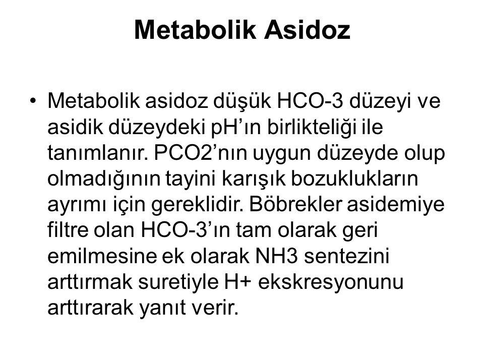 Metabolik Asidoz Metabolik asidoz düşük HCO-3 düzeyi ve asidik düzeydeki pH'ın birlikteliği ile tanımlanır. PCO2'nın uygun düzeyde olup olmadığının ta