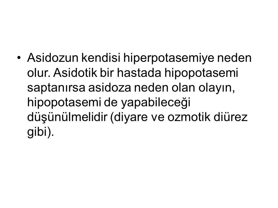 Asidozun kendisi hiperpotasemiye neden olur. Asidotik bir hastada hipopotasemi saptanırsa asidoza neden olan olayın, hipopotasemi de yapabileceği düşü
