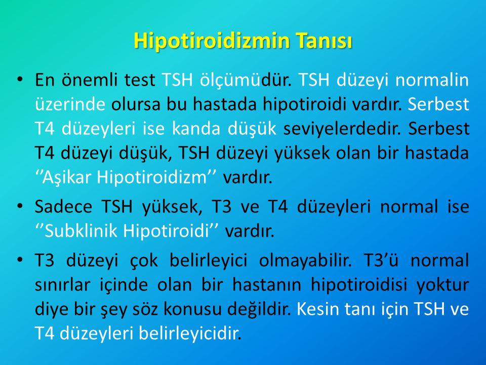 Hipotiroidizmin Tanısı En önemli test TSH ölçümüdür. TSH düzeyi normalin üzerinde olursa bu hastada hipotiroidi vardır. Serbest T4 düzeyleri ise kanda