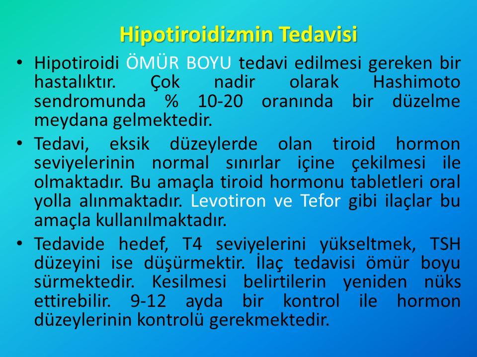 Hipotiroidizmin Tedavisi Hipotiroidi ÖMÜR BOYU tedavi edilmesi gereken bir hastalıktır. Çok nadir olarak Hashimoto sendromunda % 10-20 oranında bir dü