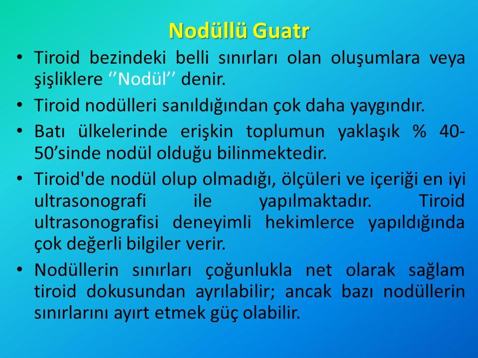 Nodüllü Guatr Tiroid bezindeki belli sınırları olan oluşumlara veya şişliklere ''Nodül'' denir. Tiroid nodülleri sanıldığından çok daha yaygındır. Bat