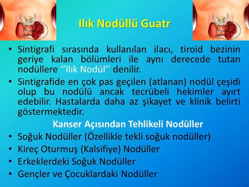 Ilık Nodüllü Guatr Sintigrafi sırasında kullanılan ilacı, tiroid bezinin geriye kalan bölümleri ile aynı derecede tutan nodüllere ''Ilık Nodül'' denil