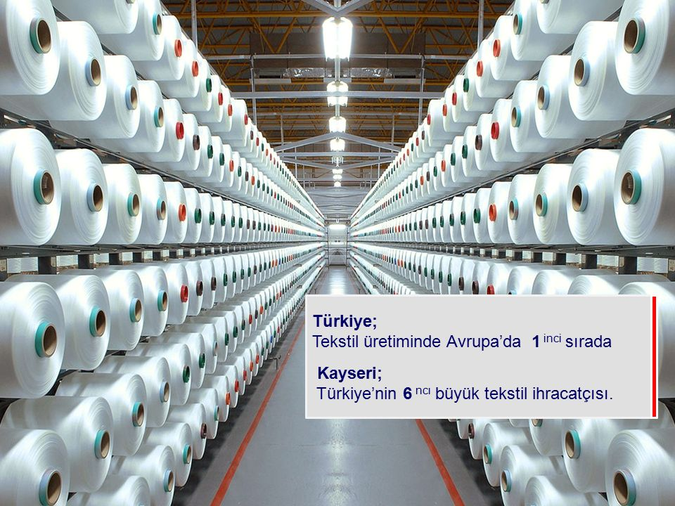 Türkiye; Tekstil üretiminde Avrupa'da 1 inci sırada Kayseri; Türkiye'nin 6 ncı büyük tekstil ihracatçısı.