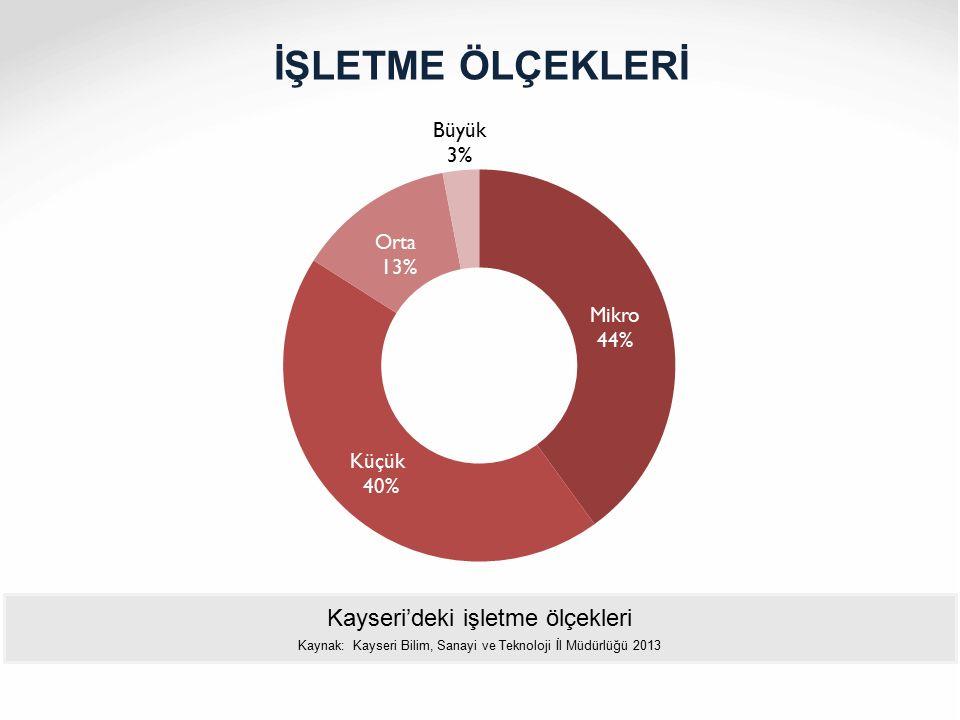 İŞLETME ÖLÇEKLERİ Kayseri'deki işletme ölçekleri Kaynak: Kayseri Bilim, Sanayi ve Teknoloji İl Müdürlüğü 2013