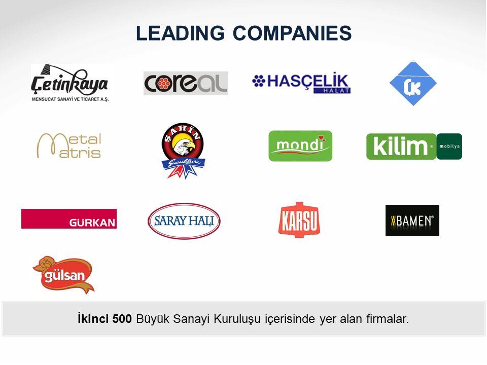 LEADING COMPANIES İkinci 500 Büyük Sanayi Kuruluşu içerisinde yer alan firmalar.