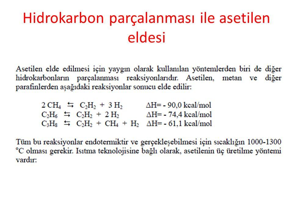 Hidrokarbon parçalanması ile asetilen eldesi