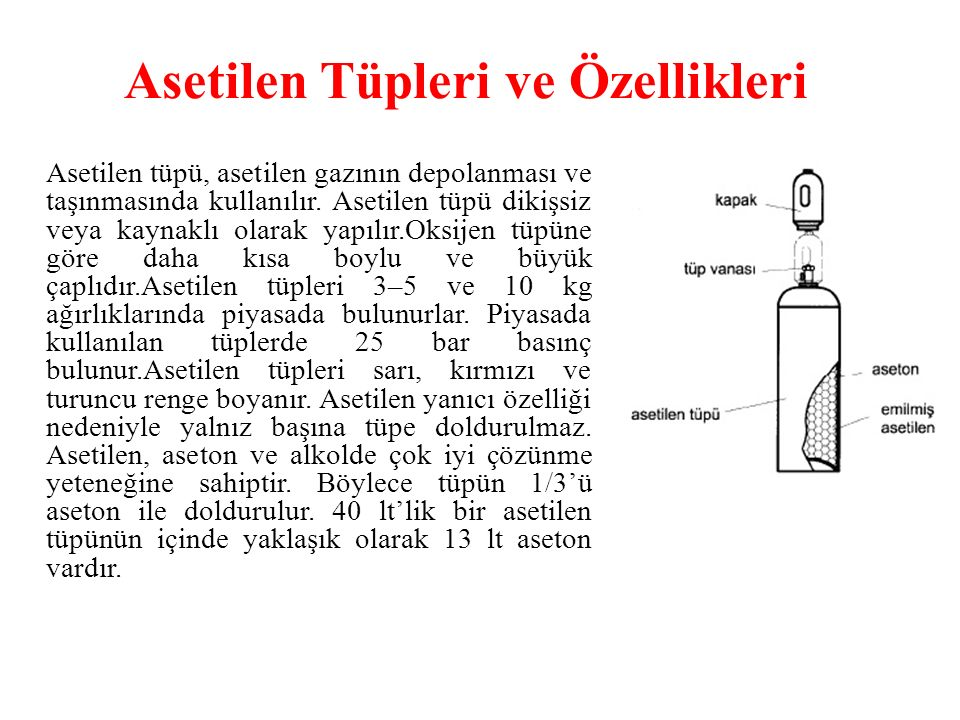 Asetilen Tüpleri ve Özellikleri Asetilen tüpü, asetilen gazının depolanması ve taşınmasında kullanılır. Asetilen tüpü dikişsiz veya kaynaklı olarak ya