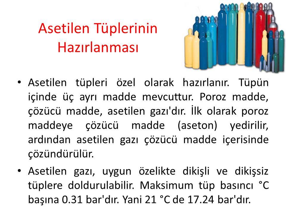 Asetilen Tüplerinin Hazırlanması Asetilen tüpleri özel olarak hazırlanır. Tüpün içinde üç ayrı madde mevcuttur. Poroz madde, çözücü madde, asetilen ga