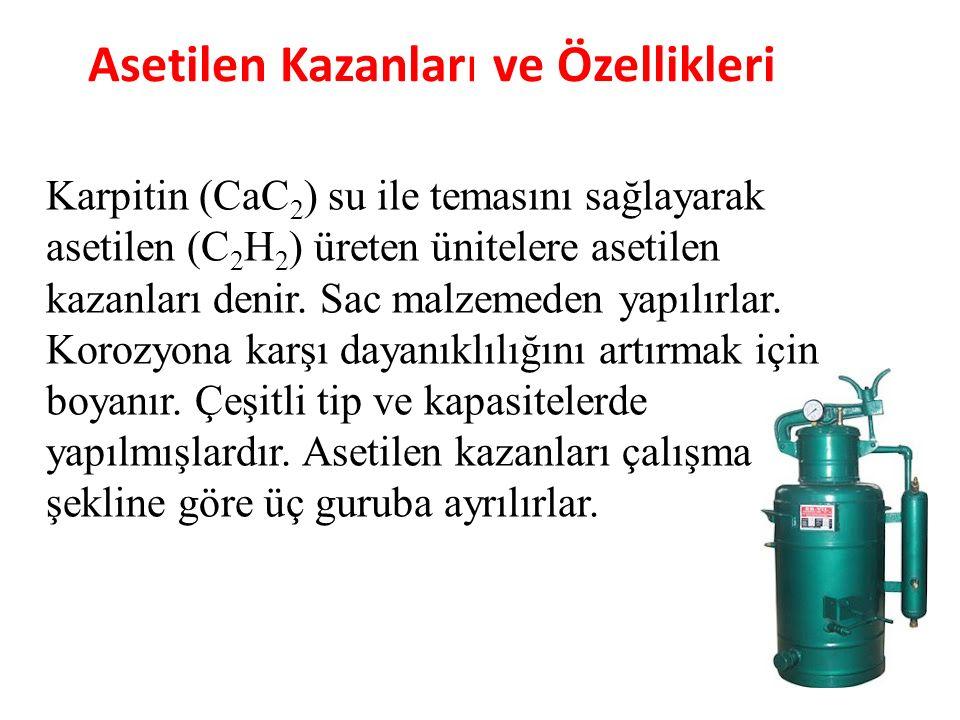 Asetilen Kazanları ve Özellikleri Karpitin (CaC 2 ) su ile temasını sağlayarak asetilen (C 2 H 2 ) üreten ünitelere asetilen kazanları denir. Sac malz