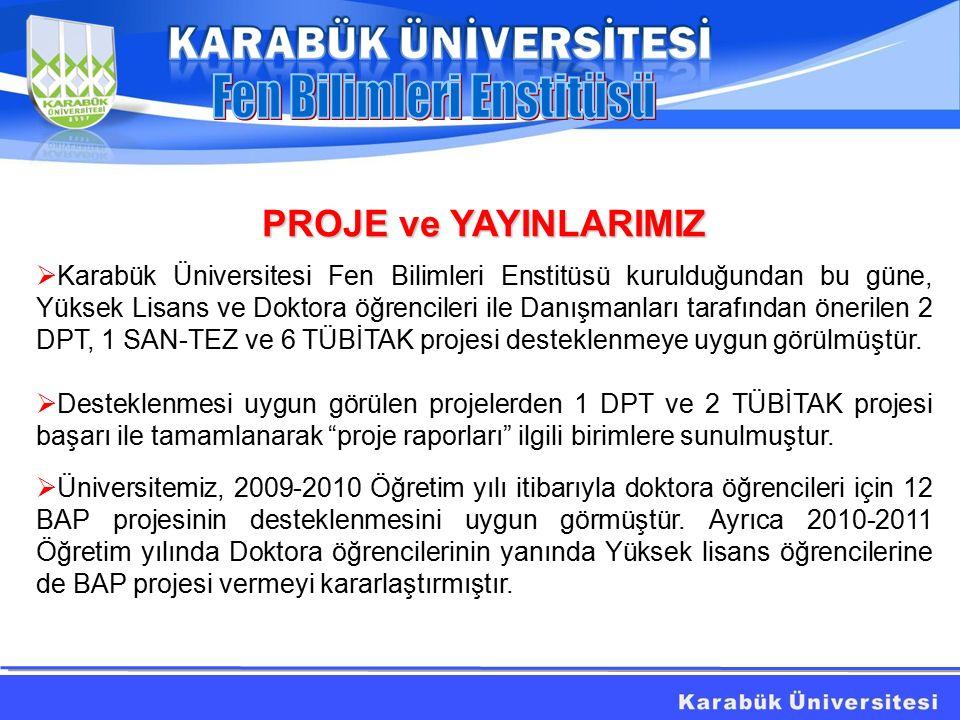PROJE ve YAYINLARIMIZ  Karabük Üniversitesi Fen Bilimleri Enstitüsü kurulduğundan bu güne, Yüksek Lisans ve Doktora öğrencileri ile Danışmanları tarafından önerilen 2 DPT, 1 SAN-TEZ ve 6 TÜBİTAK projesi desteklenmeye uygun görülmüştür.