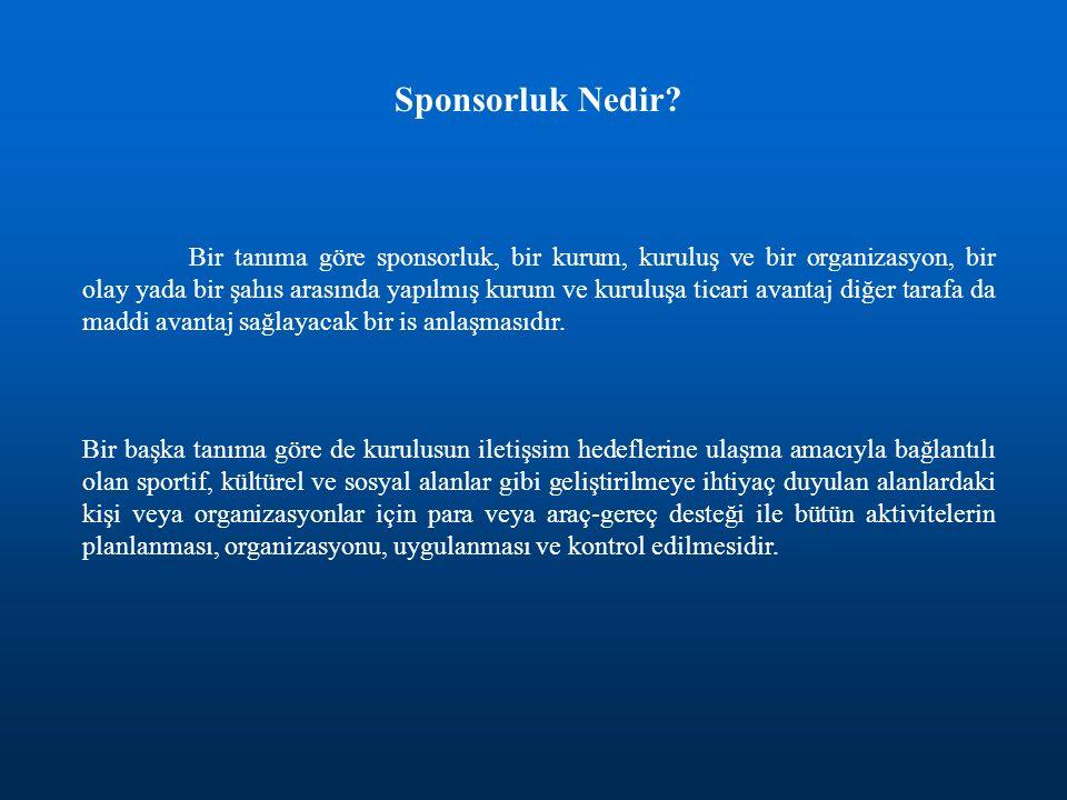 Sponsorluk Nedir? Bir tanıma göre sponsorluk, bir kurum, kuruluş ve bir organizasyon, bir olay yada bir şahıs arasında yapılmış kurum ve kuruluşa tica