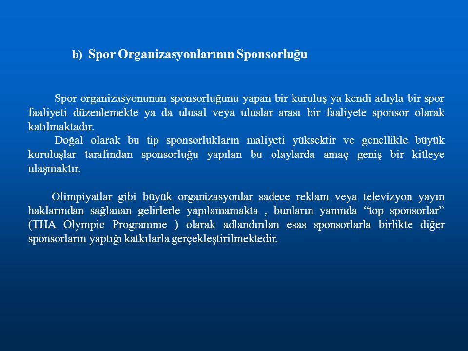 b) Spor Organizasyonlarının Sponsorluğu Spor organizasyonunun sponsorluğunu yapan bir kuruluş ya kendi adıyla bir spor faaliyeti düzenlemekte ya da ul