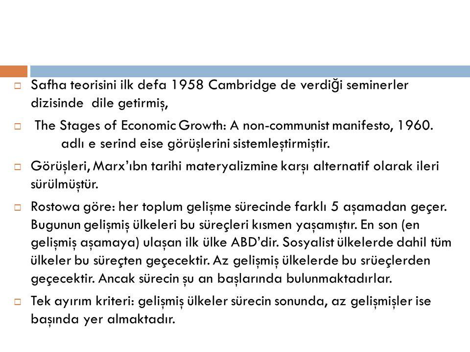  Safha teorisini ilk defa 1958 Cambridge de verdi ğ i seminerler dizisinde dile getirmiş,  The Stages of Economic Growth: A non-communist manifesto,