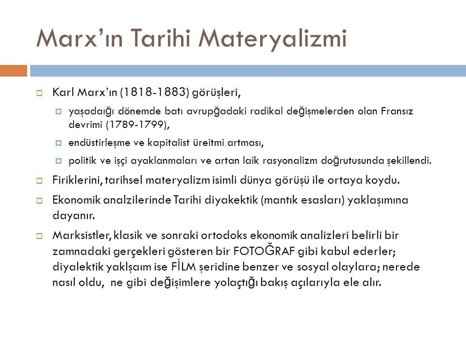 Marx'ın Tarihi Materyalizmi  Karl Marx'ın (1818-1883) görüşleri,  yaşadaı ğ ı dönemde batı avrup ğ adaki radikal de ğ işmelerden olan Fransız devrim