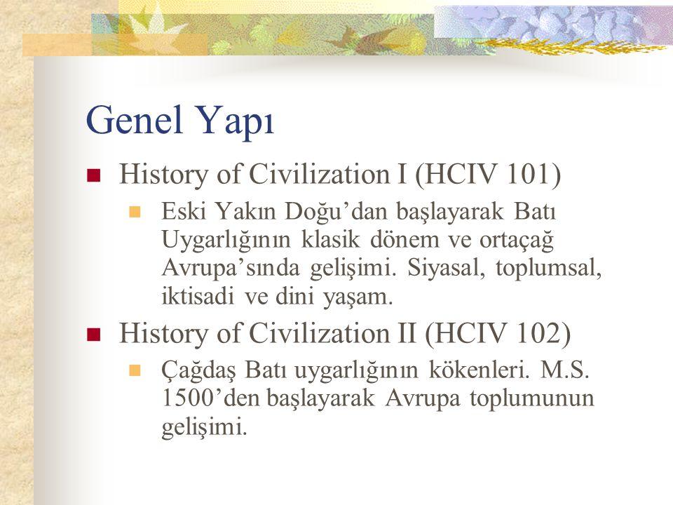Genel Yapı History of Civilization I (HCIV 101) Eski Yakın Doğu'dan başlayarak Batı Uygarlığının klasik dönem ve ortaçağ Avrupa'sında gelişimi.