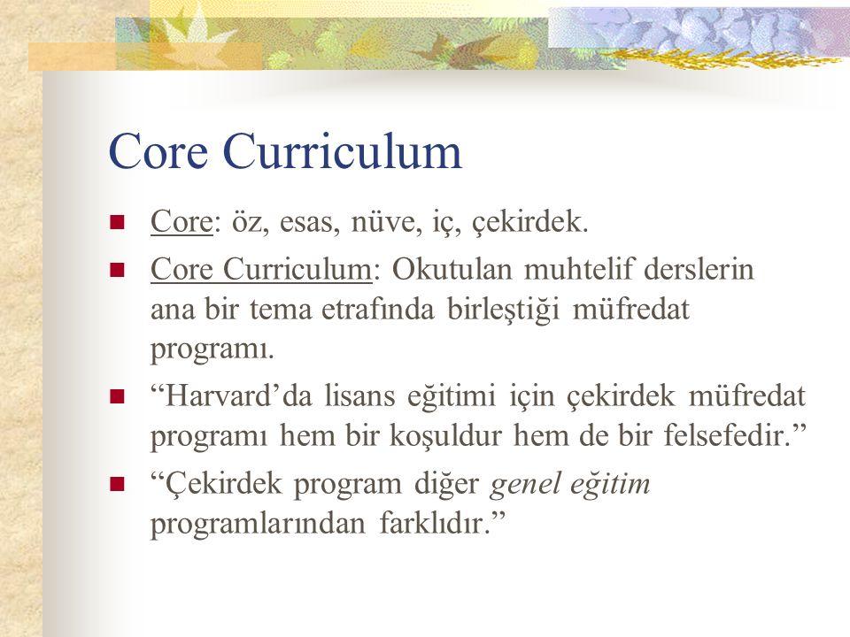 Core Curriculum Core: öz, esas, nüve, iç, çekirdek.
