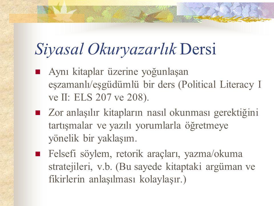 Siyasal Okuryazarlık Dersi Aynı kitaplar üzerine yoğunlaşan eşzamanlı/eşgüdümlü bir ders (Political Literacy I ve II: ELS 207 ve 208).