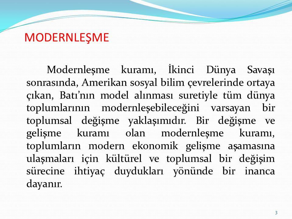 MODERNLEŞME Modernleşme süreci temel olarak aşağıda belirtilen değişme ve gelişmeleri kapsamaktadır.