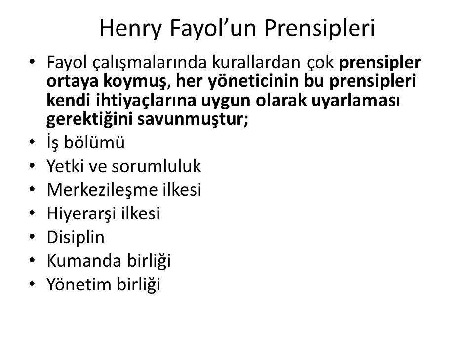 Henry Fayol'un Prensipleri Fayol çalışmalarında kurallardan çok prensipler ortaya koymuş, her yöneticinin bu prensipleri kendi ihtiyaçlarına uygun olarak uyarlaması gerektiğini savunmuştur; İş bölümü Yetki ve sorumluluk Merkezileşme ilkesi Hiyerarşi ilkesi Disiplin Kumanda birliği Yönetim birliği