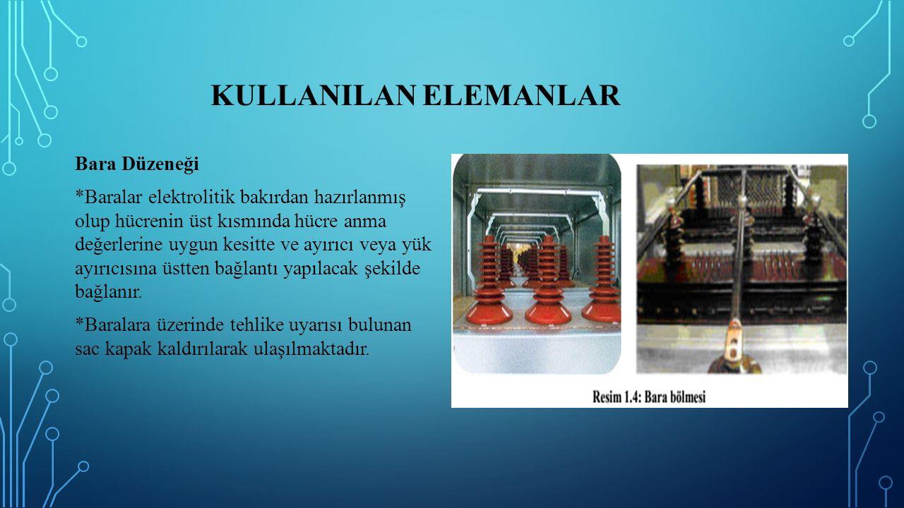 KULLANILAN ELEMANLAR Bara Düzeneği *Baralar elektrolitik bakırdan hazırlanmış olup hücrenin üst kısmında hücre anma değerlerine uygun kesitte ve ayırı