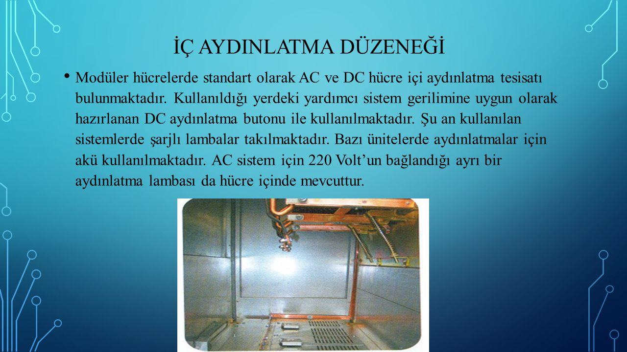 İÇ AYDINLATMA DÜZENEĞİ Modüler hücrelerde standart olarak AC ve DC hücre içi aydınlatma tesisatı bulunmaktadır. Kullanıldığı yerdeki yardımcı sistem g