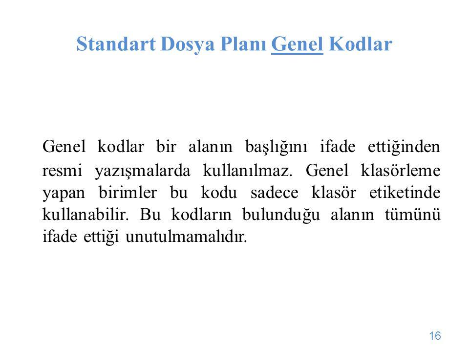 Standart Dosya Planı Genel Kodlar Genel kodlar bir alanın başlığını ifade ettiğinden resmi yazışmalarda kullanılmaz. Genel klasörleme yapan birimler b
