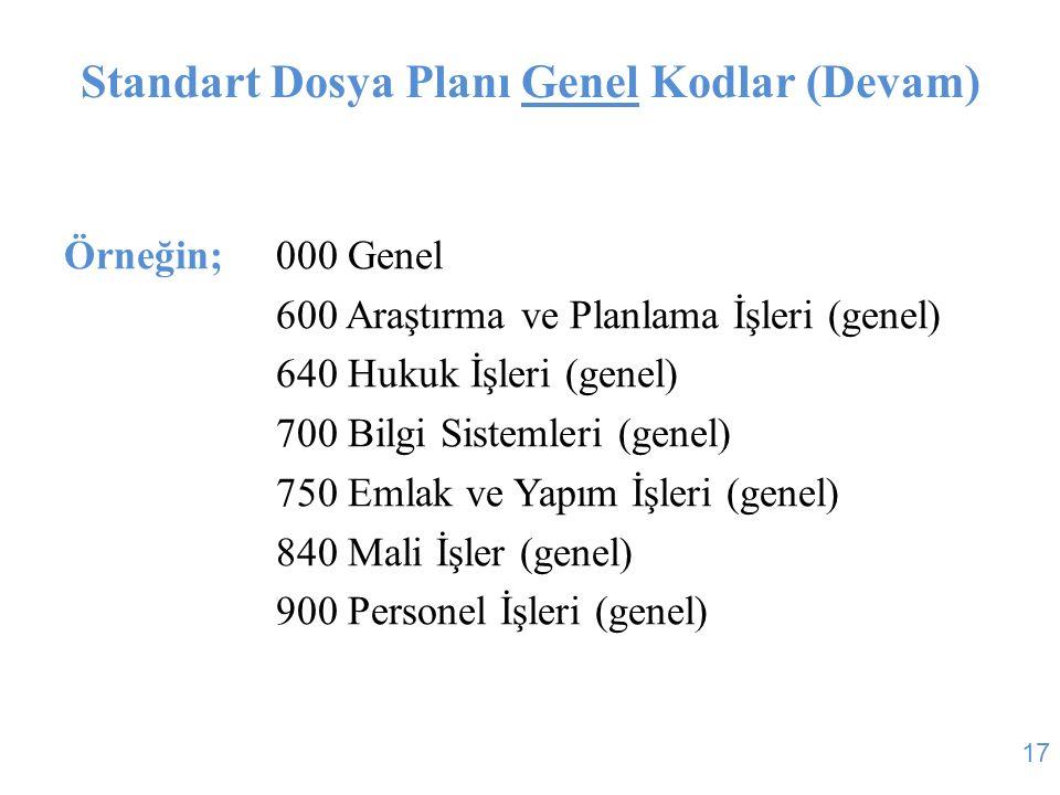 Standart Dosya Planı Genel Kodlar (Devam) Örneğin;000 Genel 600 Araştırma ve Planlama İşleri (genel) 640 Hukuk İşleri (genel) 700 Bilgi Sistemleri (ge