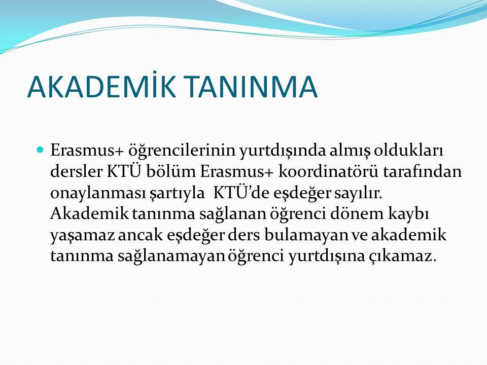 AKADEMİK TANINMA Erasmus+ öğrencilerinin yurtdışında almış oldukları dersler KTÜ bölüm Erasmus+ koordinatörü tarafından onaylanması şartıyla KTÜ'de eşdeğer sayılır.