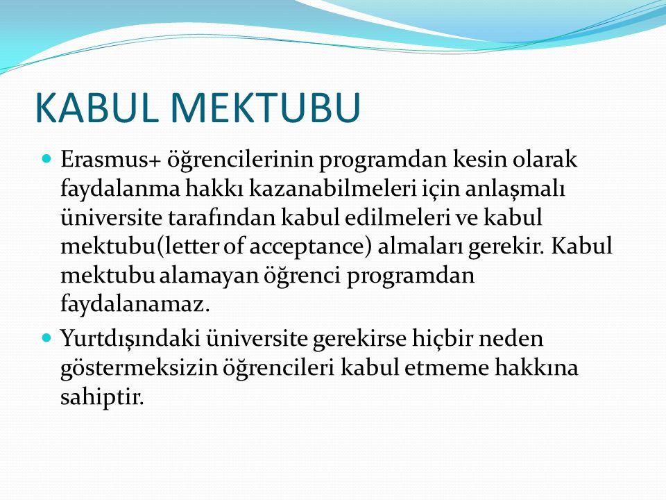 KABUL MEKTUBU Erasmus+ öğrencilerinin programdan kesin olarak faydalanma hakkı kazanabilmeleri için anlaşmalı üniversite tarafından kabul edilmeleri ve kabul mektubu(letter of acceptance) almaları gerekir.