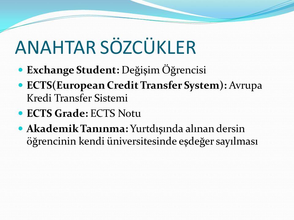 ANAHTAR SÖZCÜKLER Exchange Student: Değişim Öğrencisi ECTS(European Credit Transfer System): Avrupa Kredi Transfer Sistemi ECTS Grade: ECTS Notu Akademik Tanınma: Yurtdışında alınan dersin öğrencinin kendi üniversitesinde eşdeğer sayılması