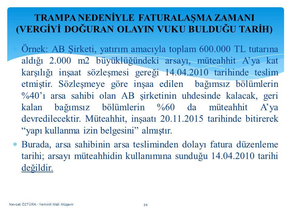 TRAMPA NEDENİYLE FATURALAŞMA ZAMANI (VERGİYİ DOĞURAN OLAYIN VUKU BULDUĞU TARİH)  Örnek: AB Şirketi, yatırım amacıyla toplam 600.000 TL tutarına aldığ