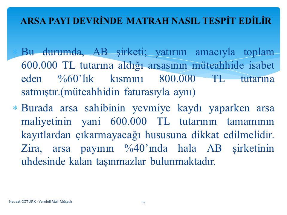 ARSA PAYI DEVRİNDE MATRAH NASIL TESPİT EDİLİR  Bu durumda, AB şirketi; yatırım amacıyla toplam 600.000 TL tutarına aldığı arsasının müteahhide isabet