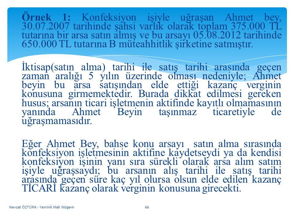 Örnek 1: Konfeksiyon işiyle uğraşan Ahmet bey, 30.07.2007 tarihinde şahsi varlık olarak toplam 375.000 TL tutarına bir arsa satın almış ve bu arsayı 0