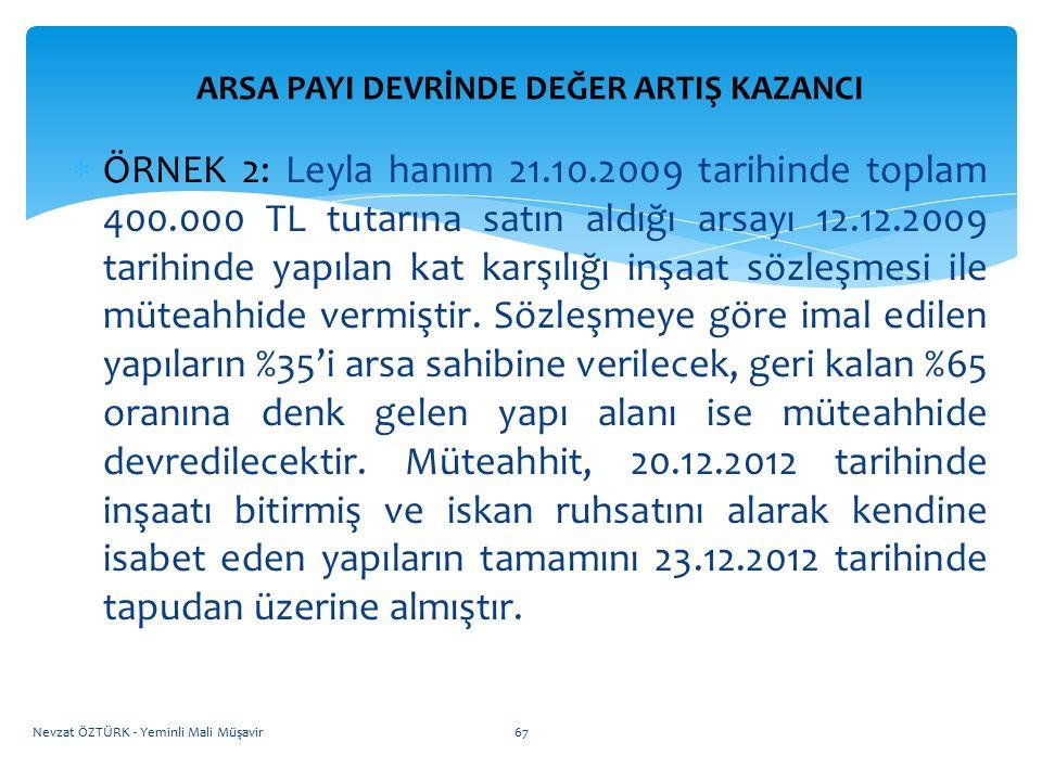 ARSA PAYI DEVRİNDE DEĞER ARTIŞ KAZANCI  ÖRNEK 2: Leyla hanım 21.10.2009 tarihinde toplam 400.000 TL tutarına satın aldığı arsayı 12.12.2009 tarihinde
