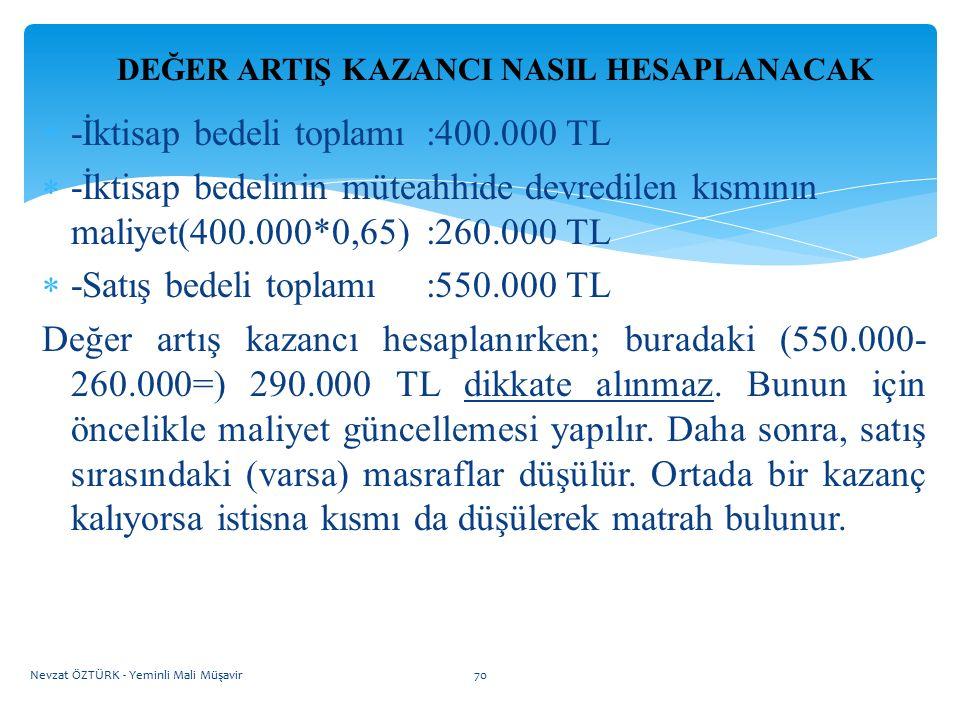 DEĞER ARTIŞ KAZANCI NASIL HESAPLANACAK  -İktisap bedeli toplamı :400.000 TL  -İktisap bedelinin müteahhide devredilen kısmının maliyet(400.000*0,65)
