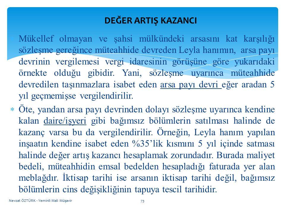 DEĞER ARTIŞ KAZANCI  Mükellef olmayan ve şahsi mülkündeki arsasını kat karşılığı sözleşme gereğince müteahhide devreden Leyla hanımın, arsa payı devr