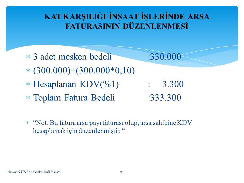 KAT KARŞILIĞI İNŞAAT İŞLERİNDE ARSA FATURASININ DÜZENLENMESİ  3 adet mesken bedeli:330.000  (300.000)+(300.000*0,10)  Hesaplanan KDV(%1): 3.300  T