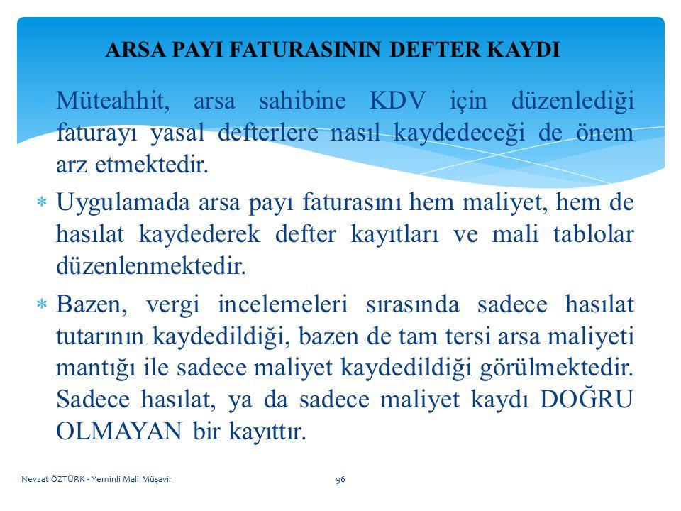 ARSA PAYI FATURASININ DEFTER KAYDI  Müteahhit, arsa sahibine KDV için düzenlediği faturayı yasal defterlere nasıl kaydedeceği de önem arz etmektedir.