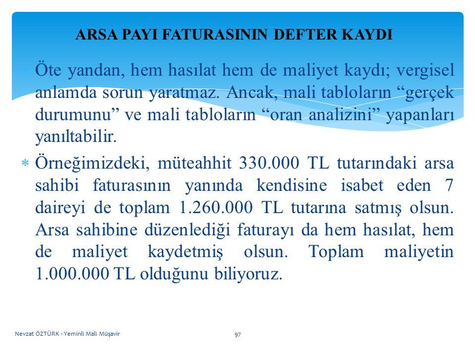 """ARSA PAYI FATURASININ DEFTER KAYDI  Öte yandan, hem hasılat hem de maliyet kaydı; vergisel anlamda sorun yaratmaz. Ancak, mali tabloların """"gerçek dur"""