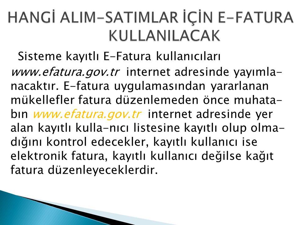 Sisteme kayıtlı E-Fatura kullanıcıları www.efatura.gov.tr internet adresinde yayımla- nacaktır.