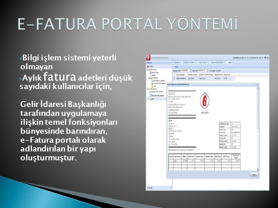  Bilgi işlem sistemi yeterli olmayan  Aylık fatura adetleri düşük sayıdaki kullanıcılar için, Gelir İdaresi Başkanlığı tarafından uygulamaya ilişkin temel fonksiyonları bünyesinde barındıran, e-Fatura portalı olarak adlandırılan bir yapı oluşturmuştur.