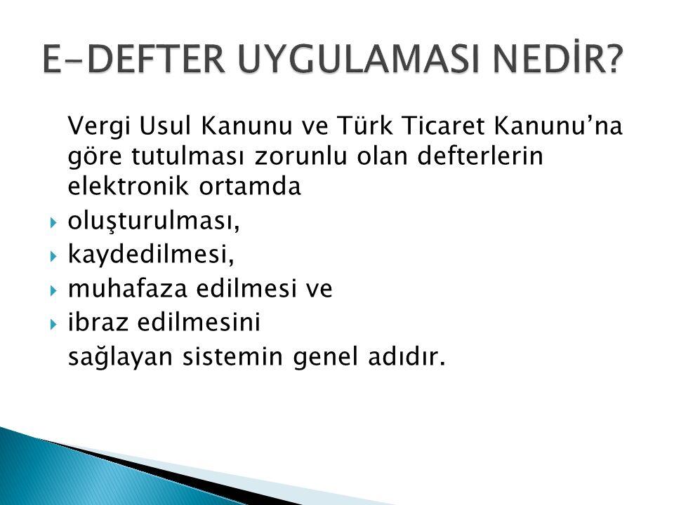Vergi Usul Kanunu ve Türk Ticaret Kanunu'na göre tutulması zorunlu olan defterlerin elektronik ortamda  oluşturulması,  kaydedilmesi,  muhafaza edilmesi ve  ibraz edilmesini sağlayan sistemin genel adıdır.