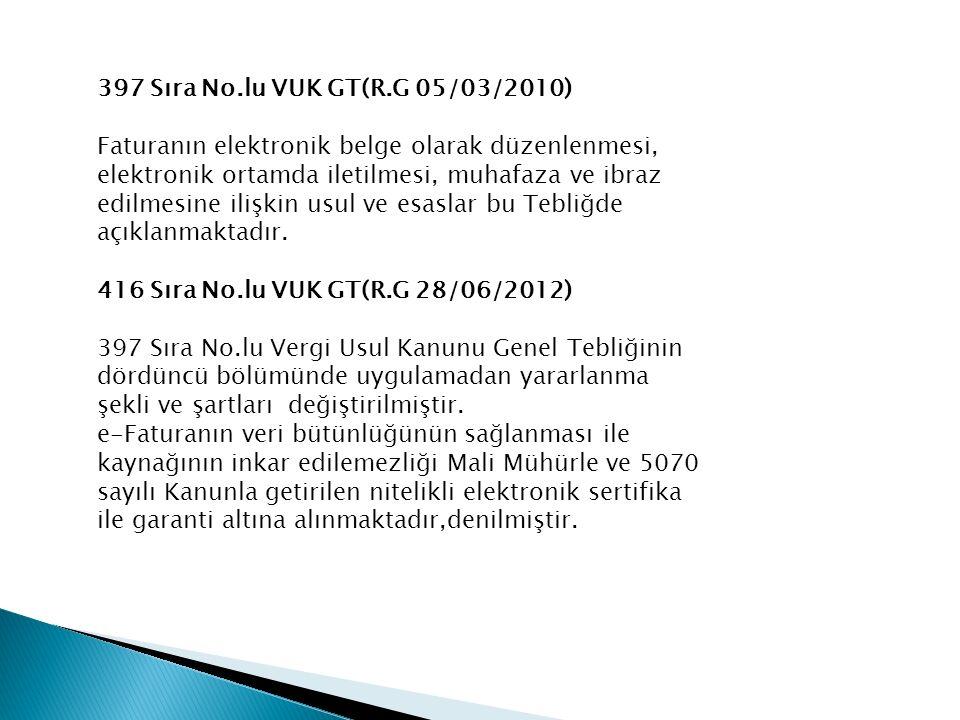421 Sıra No.lu VUK GT(R.G 14/12/2012) -Elektronik Defter ve Elektronik Fatura Zorunluluğu -Elektronik Fatura ve Elektronik Deftere Geçiş Süresi a)Elektronik fatura uygulamasına 2013 takvim yılı b) Elektronik defter uygulamasına ise 2014 takvim 424 Sıra No.lu VUK GT( R.G 21/02/2013) -Uygulamaya kayıtlı olan gerçek kişiler faturalarını mali mühürle de onaylayabileceklerdir.
