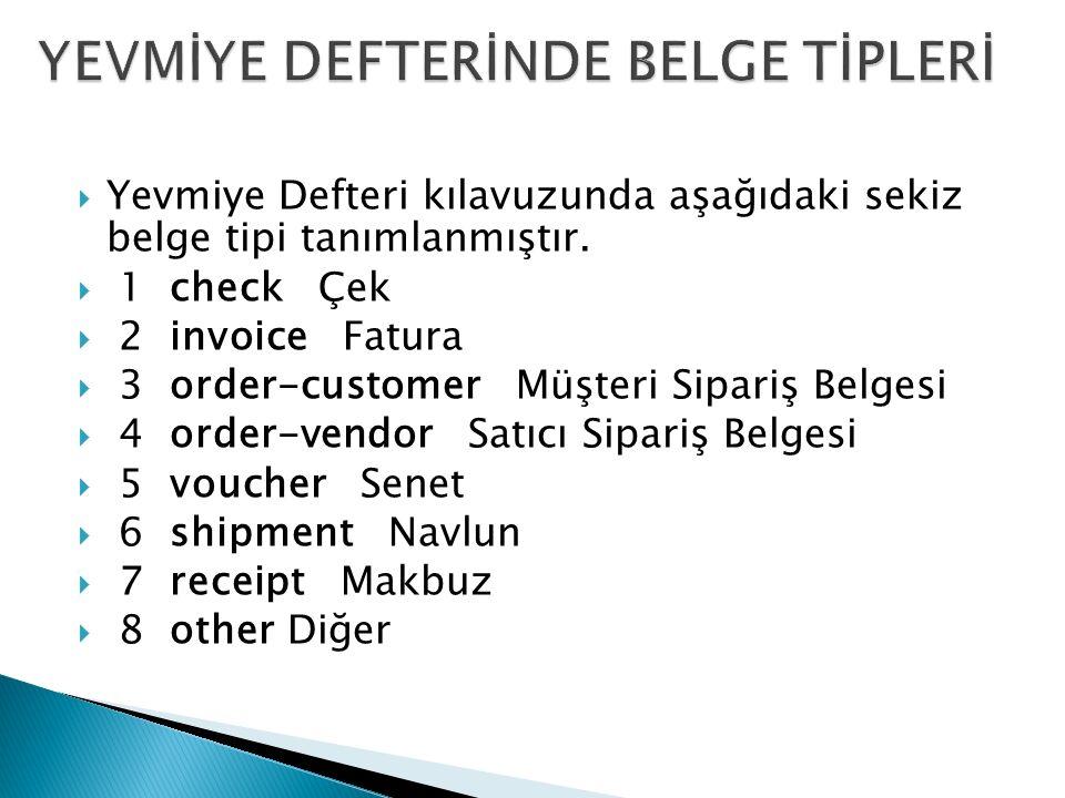  Yevmiye Defteri kılavuzunda aşağıdaki sekiz belge tipi tanımlanmıştır.