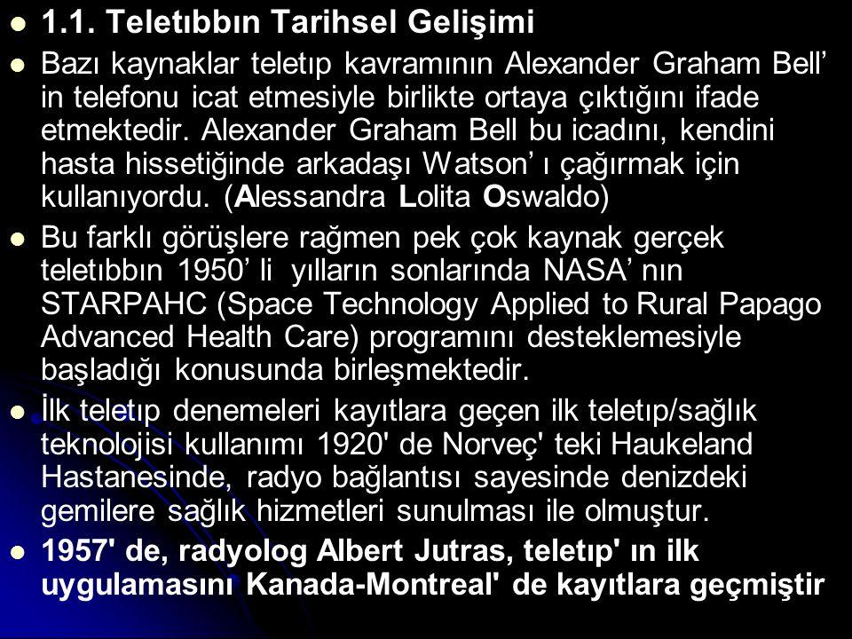 1.1. Teletıbbın Tarihsel Gelişimi Bazı kaynaklar teletıp kavramının Alexander Graham Bell' in telefonu icat etmesiyle birlikte ortaya çıktığını ifade