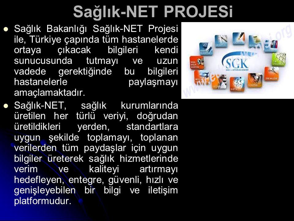 Sağlık-NET PROJESi Sağlık Bakanlığı Sağlık-NET Projesi ile, Türkiye çapında tüm hastanelerde ortaya çıkacak bilgileri kendi sunucusunda tutmayı ve uzu